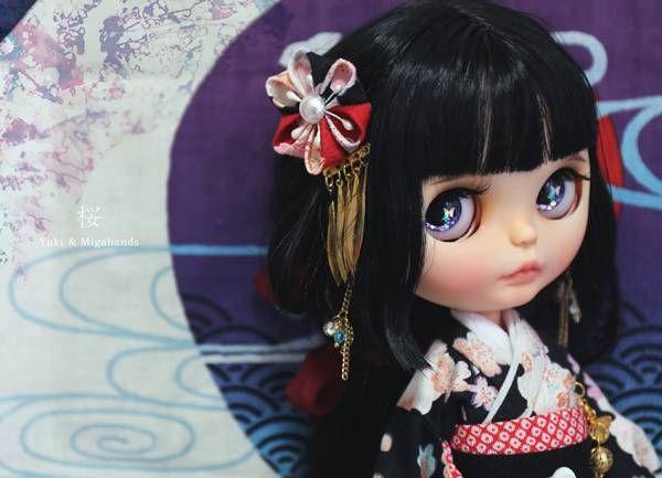 ***yukicat***カスタムブライス Custom Blythe「♪桜ちゃん♪」 ☆手作り振袖着物フルセット☆_画像3