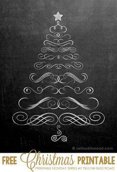 Free Printable Chalkboard Christmas Tree - so cute!  #holidayideaexchange