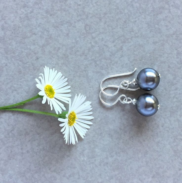 Silver Shell Pearl & Sterling Silver Earrings, Unique Gift by TJBsimplebeauty on Etsy