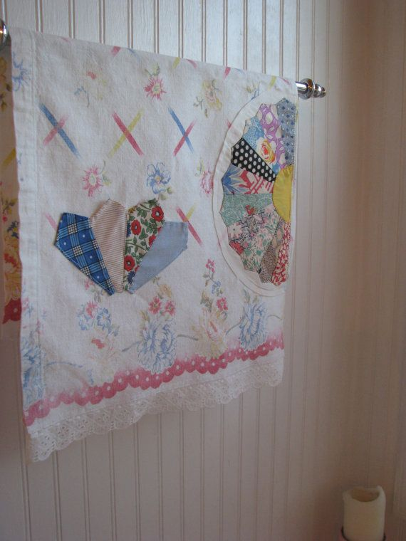 NEW tea TOWEL upcycled VINTAGE tablecloth by vintageroseslove