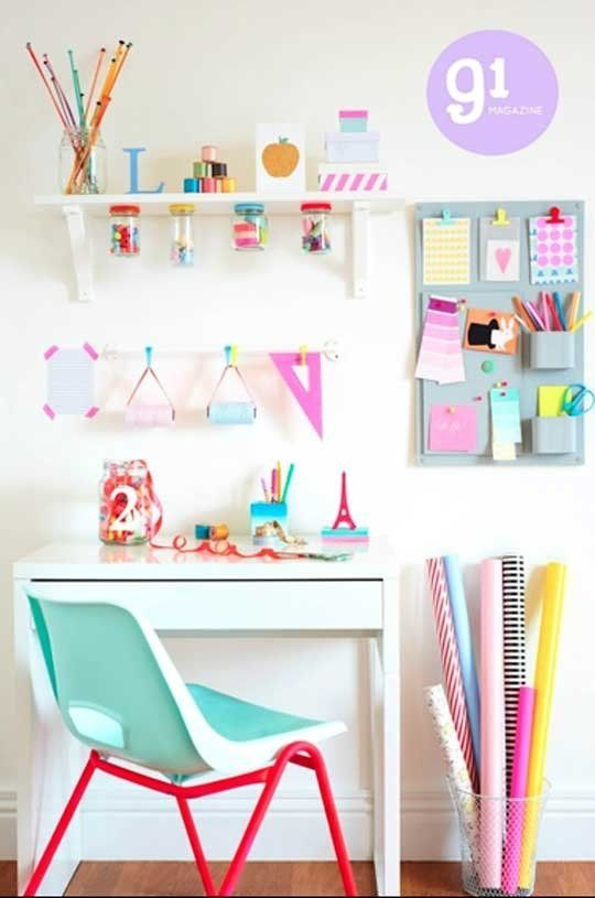 Craft Room Ideas for Small Spaces. Never thought of using old paint roller holders for holding thread! I love the bright cheeriness coupled with organization of this room. #DecorbyMe @ForRent.com