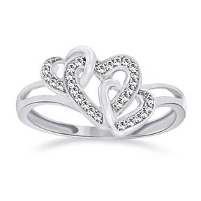 1/10 Caratdiamond Triple Heart Promise Ring 14K Solid White Gold # With Free Stud Earrings by JewelryHub on Opensky