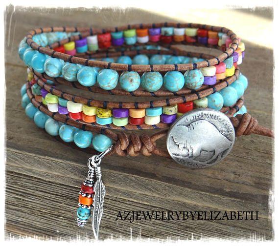 Beaded Leather Wrap/ Turquoise Leather Wrap Bracelet/ Native