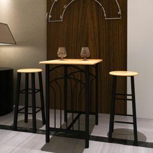 Ensemble de 1 Table et 2 Tabourets de bar confortable en MDF+acier Pour maison cuisine ou salle à manger