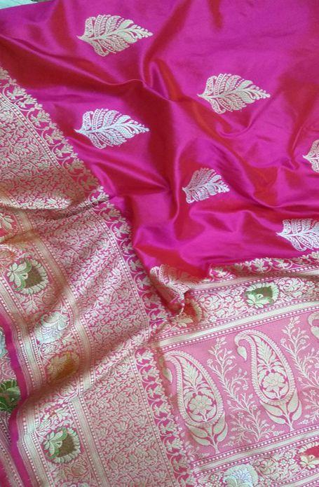 ba5cab1bc1 Pink Handloom Banarasi Pure Katan Silk Saree #Banarasisari#handloom# traditional#Indianwear#goodlooking#madeinindia#traditionallook#loveforsaree#puresilk#  ...
