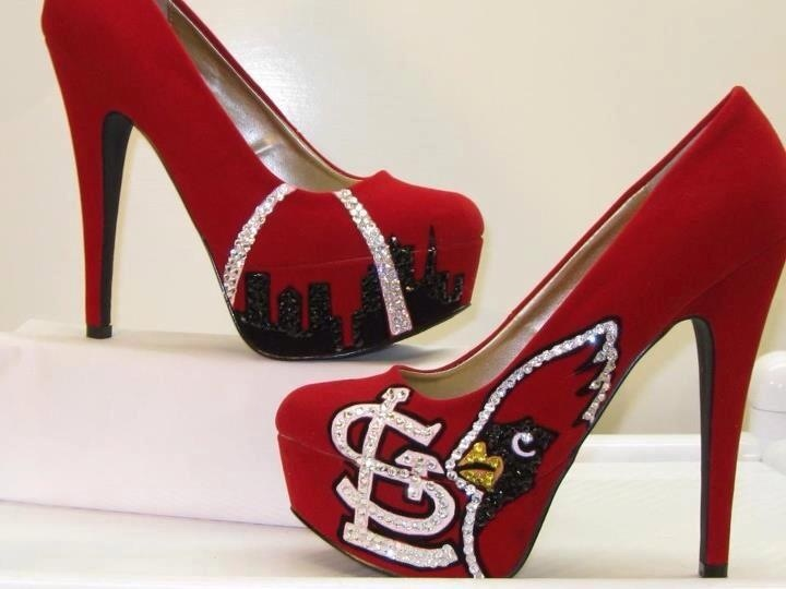 Cardinals baseball high heel shoes... Custom made on etsy. As shown, $150. Also she does a wedge style for $200