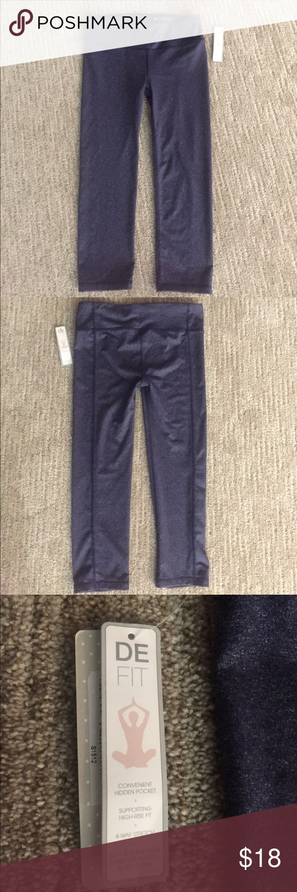DE Collection yoga studio Capri pant Size XS BLUE Heather blue yoga studio Capri pants. Hidden pocket. High rise fit. 4 way stretch. Flat seaming. Size XSMALL. New with tags DE COLLECTION Pants Leggings