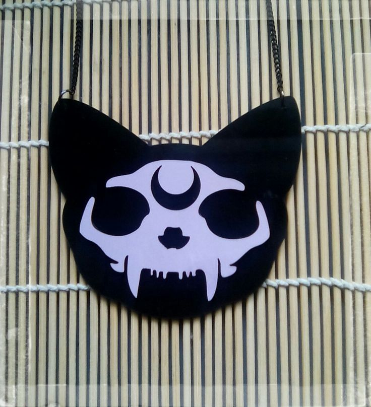 Recyled Re-purposed Laser Cut Vinyl Record Large Luna Moon Magic Kitty Cat Skull Pendant Necklace by VioletMoonsEmporium on Etsy
