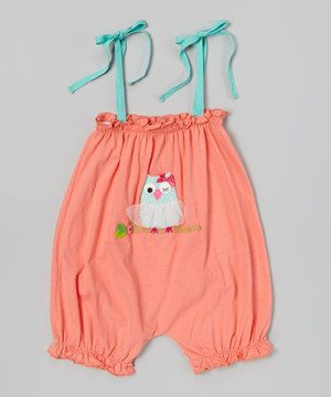 Look what I found on #zulily! Victoria Kids Coral Owl Bubble Romper - Infant & Toddler by Victoria Kids #zulilyfinds