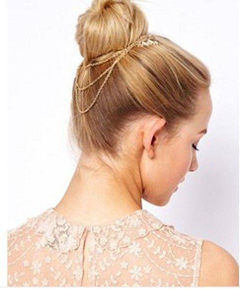 Handmade Boho Gold Leaf Hair Chain Hair Comb Wedding Prom Graduation Party French Bun Head Chain Jewelry