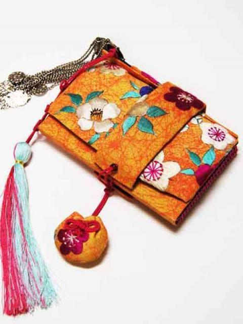 箱せこ 椿と梅刺繍