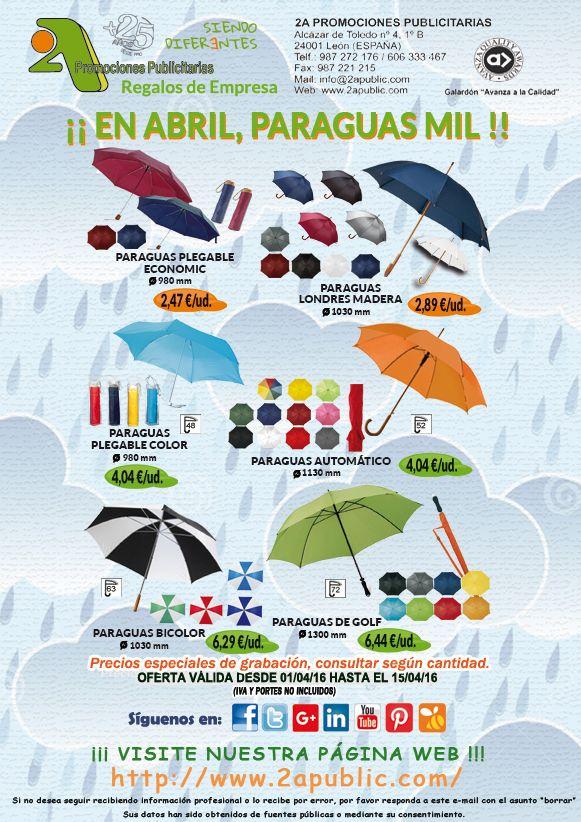 ¡¡¡ 2A - Quincena PARAGUAS !!!  ¿Qué mejor soporte publicitario que un paraguas?  Aprovecha esta oferta a lo largo de todo esta quincena y hazte con ellos para personalizarlos con su logo o emblema.  NO se requieren cantidades mínimas.  Para más información y solicitud de presupuestos, sin ningún tipo de compromiso, no dude en contactarnos  #paraguas #publicidad #comunicacion #marketing #regalosdeempresa #leonesp #merchandising