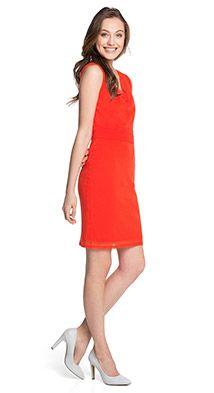 Esprit / Fijne mesh jurk met een watervalhals