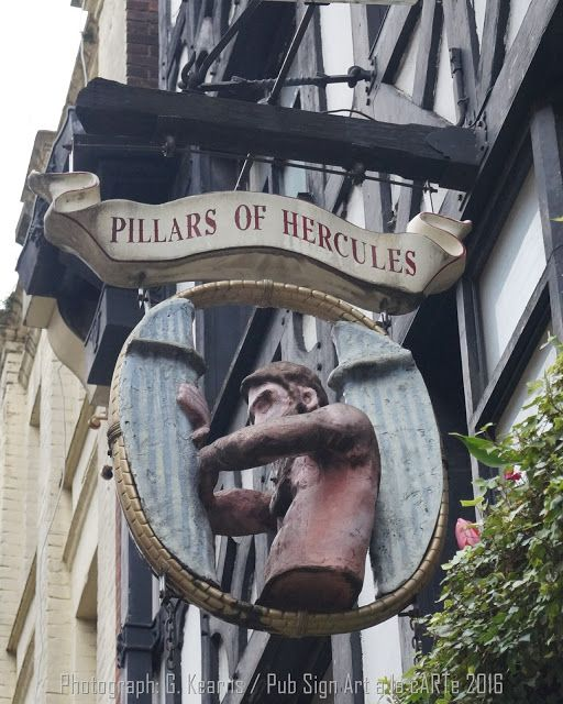 Pub Sign Art a la cARTe: The Pillars of Hercules, London, W1 - Greek Street...