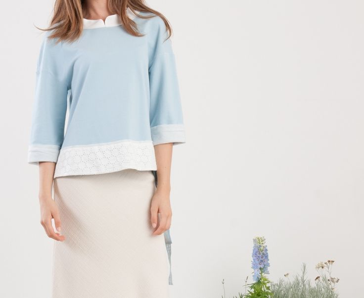 Momoé azure sweatshirt..and white maxi skirt.... spring summer... here we come
