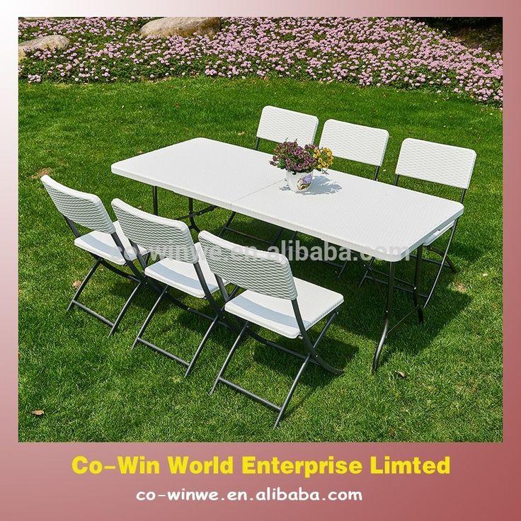 7PK черный или белый ротанг патио открытый портативный складной стол и складной стул сад комплект-изображение-Садовые наборы-ID товара::60264914963-russian.alibaba.com