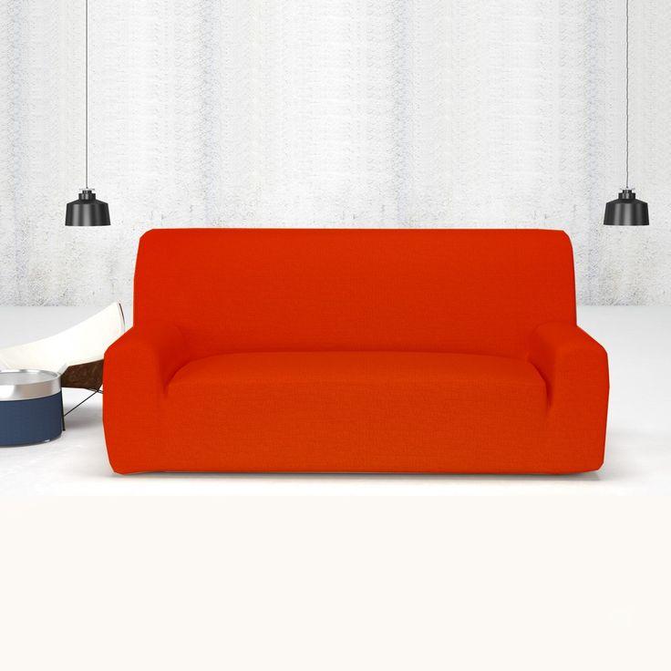 Fundas de Sofá Elástica Rojo Teja TÚNEZ, fundas elásticas ajustables a cualquier sofá estándar de 1 plaza, 2 plazas, 3 plazas y 4 plazas, ideales para renovar y proteger la tapicería de cualquier mancha, podrás decorar el sofá compaginando con la decoración del salón