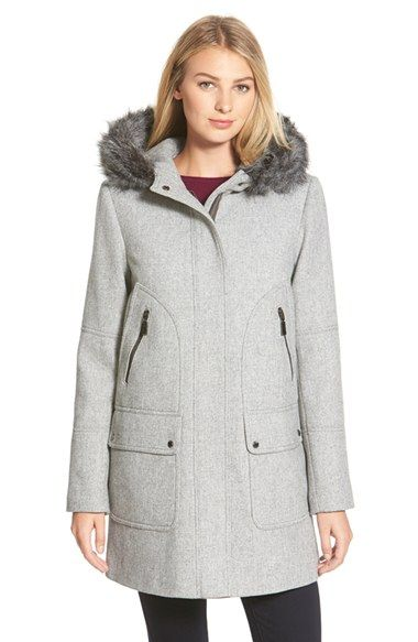 Vince Camuto FauxFur Trim Hooded Wool Blend DuffleCoat available at #Nordstrom