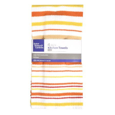 Better Homes Gardens 4 Pack Kitchen Towels A Yellow With