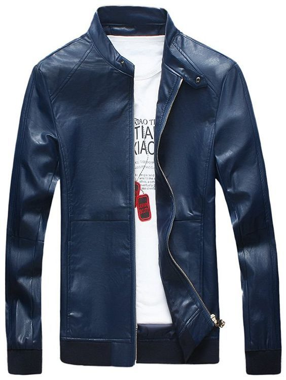 40e4d3afb Casual Zipper Up Faux Leather Bomber Jacket in 2019 | Fashion Trends ...