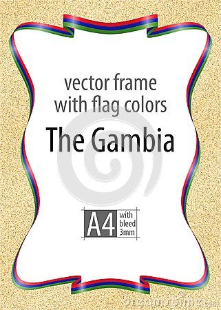 Frame and border of ribbon with the colors of the Gambia flag, template elements for your certificate and diploma. Vector, with bleed three mm.