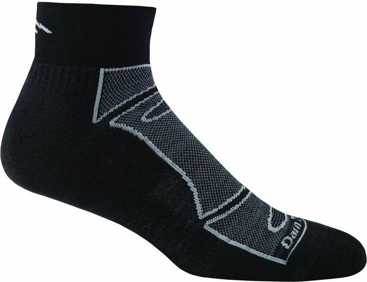 Darn Tough Vermont Men's 1/4 Merino Wool Sock Light Cushion Athletic Socks, Black/Gray, X-Large. Unconditional Lifetime Guarantee. Performance fit. Unsurpassed durability.