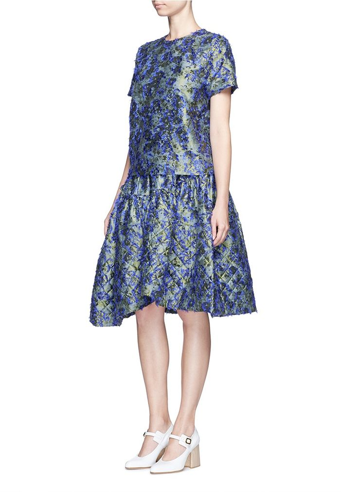 JOURDEN - Fil coupé fringe floral jacquard top   Multi-colour Short Sleeve Tops   Women   Lane Crawford - Shop Designer Brands Online