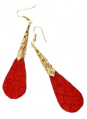 red fish leather earring
