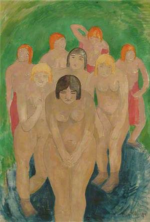 Group of Nude Women Bathers by Harry Phelan Gibb
