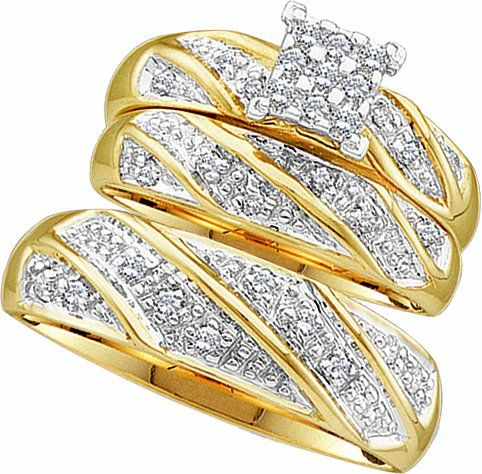 Men's Ladies 10k Yellow and White Gold .3 Ct Round Cut Diamond His Her Engagement Wedding Bridal Ring Set (ladies size 7, men size 10; message us for more sizes)$449.99