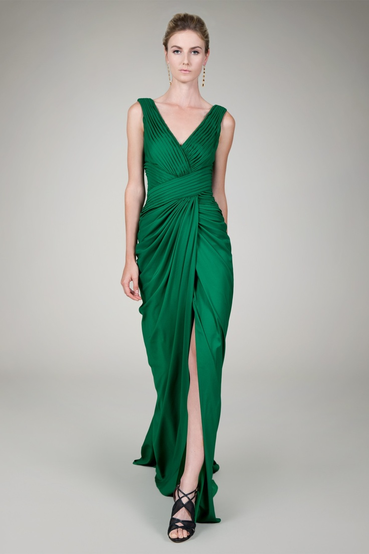 Washed Crepe Back Satin Pleated Gown In Gucci Green