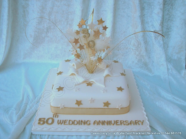 Square Ivory Coloured Golden Wedding Anniversary Cake With