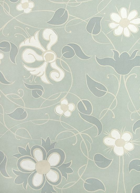 Mille Fleurs Wallpaper Intricate sprawling floral wallpaper in Icy Blue with Steel blue, white and taupe design.