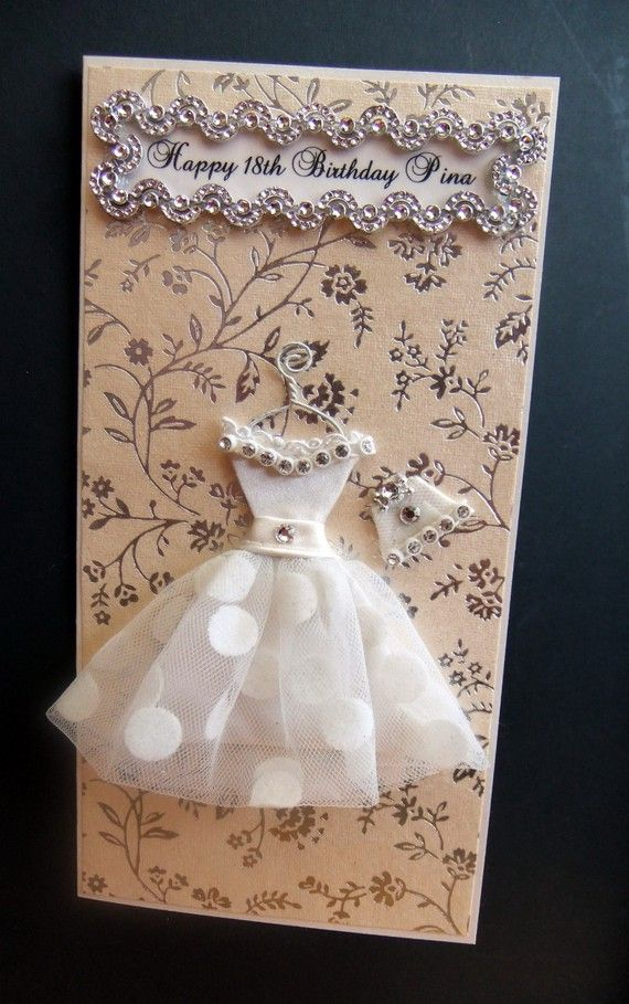 ♥♥♥This 'Happy 18th Birthday Pina Card from my Party Girl Collection, is a beautiful card designed for any occasion, and will win the heart of any special girl♥♥♥    ♥This custom order is from my Party Girl Collection young & fun dresses!♥    This dress is my own design creation, drawn then cut using scrap cardstock. The cut-out is then wrapped delicately with gorgeous ivory satin & ivory polka dot tulle to create a full short skirt. Any girl would love to add this dress to her wardro...