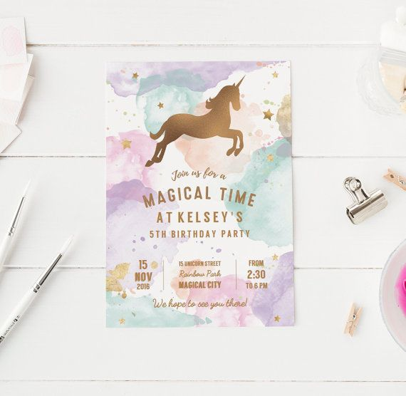 Printable Pastel Unicorn Birthday Party by ClementineCreative