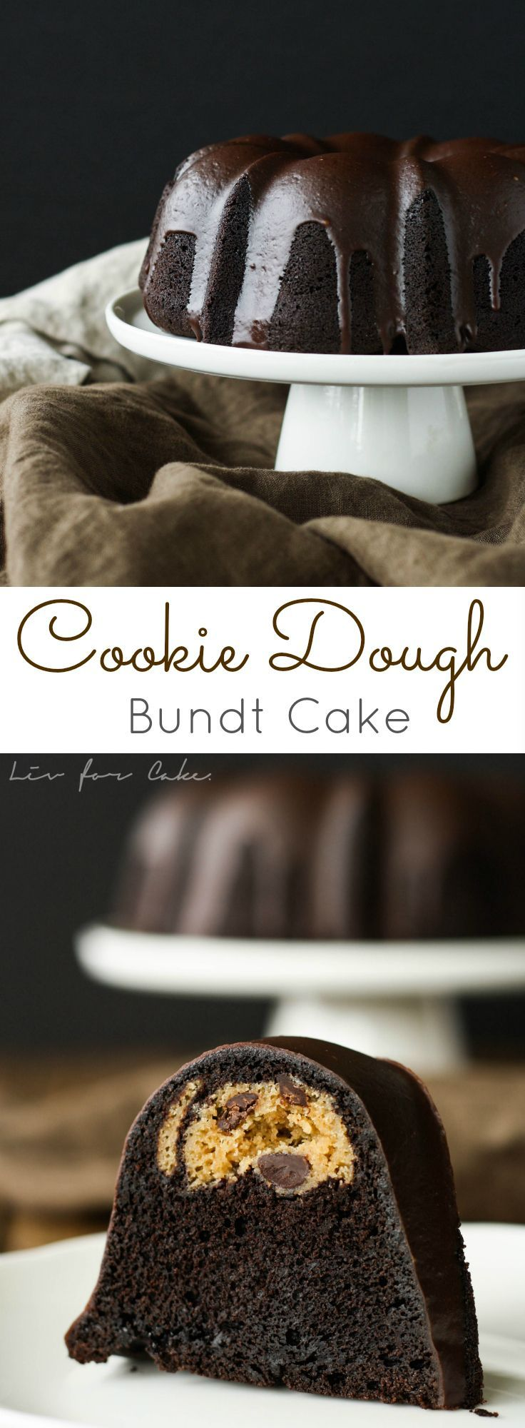 This black cocoa chocolate bundt has a chocolate chip cookie dough surprise inside. | livforcake.com