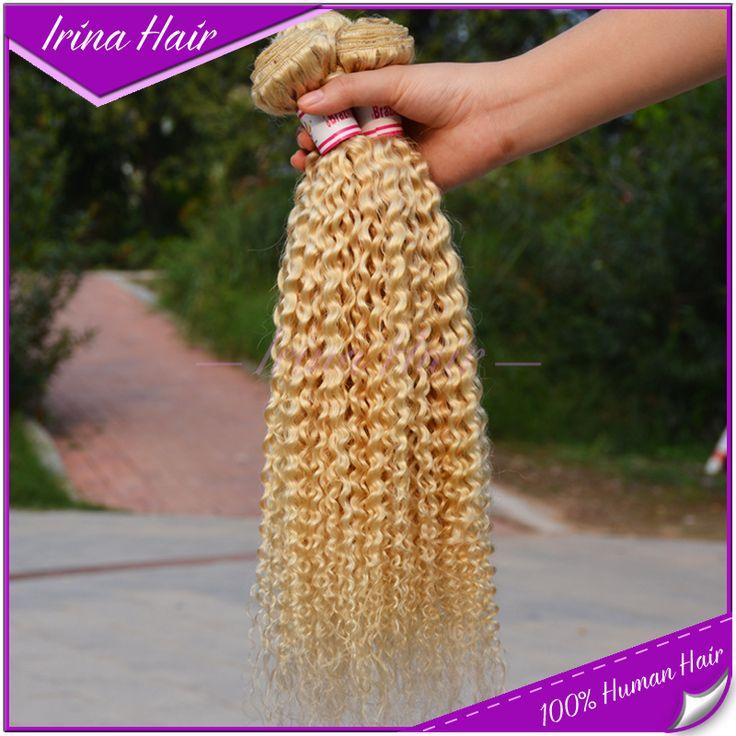 Ирина волос 3 шт. 7А малайзии расширение девственные волосы 613 блондинка странный вьющиеся дешевые русский мед белокурые вьющиеся волосы ткет для продажа