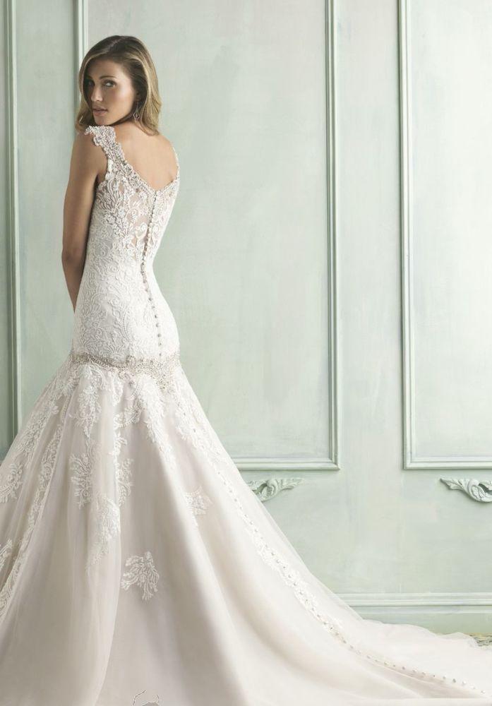 Swarovski Crystal Ivory Lace Allure Wedding Dress Size 8 Was 1885