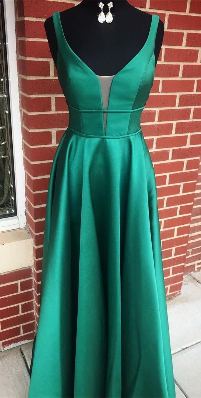 A linha verde escuro longo vestido de baile, 2019 vestido de baile vestido de festa   – Elegant Prom Dresses 2019