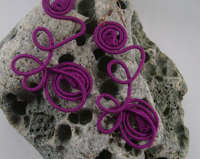 Purple Iris  yarn-wrapped earrings/ purple/ cotton yarns/ thread-wrapped/ handmade/