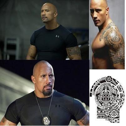 Временные Татуировки «Ускоренного и Furious' Дуэйн Джонсон Рок татуировки большой размер рука водонепроницаемый съемный флэш-тату тату для человека, 1 шт.