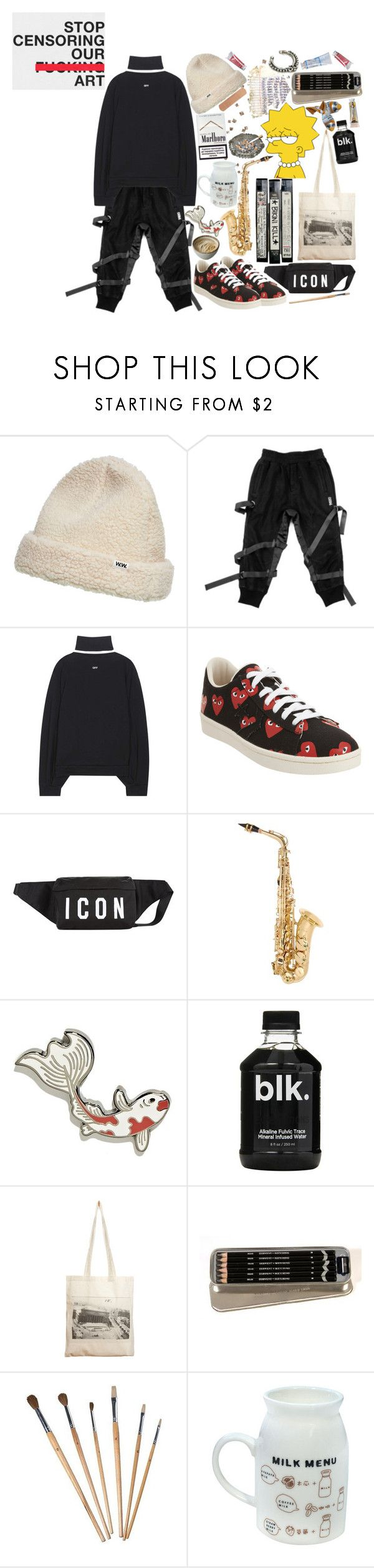 """""""le drugs"""" by tasnim-ali ❤ liked on Polyvore featuring Wood Wood, Off-White, Play Comme des Garçons, Dsquared2, Odyssey, Borders&Frontiers, Reclaimed Vintage, Marlboro, dsquared2 and offwhite"""