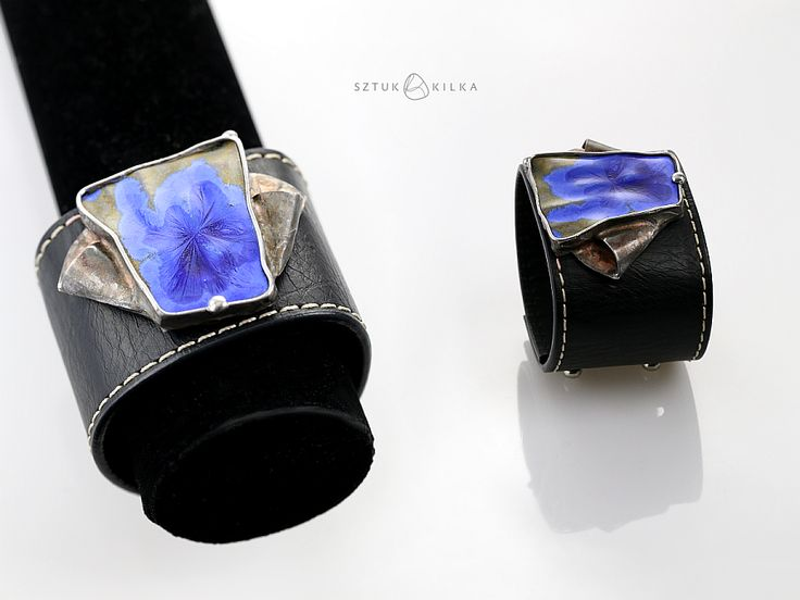 Ceramic (cristalline glaze) + copper + eco leather = bracelet :D