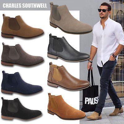 Mens Faux Suede Chelsea Boots Designer