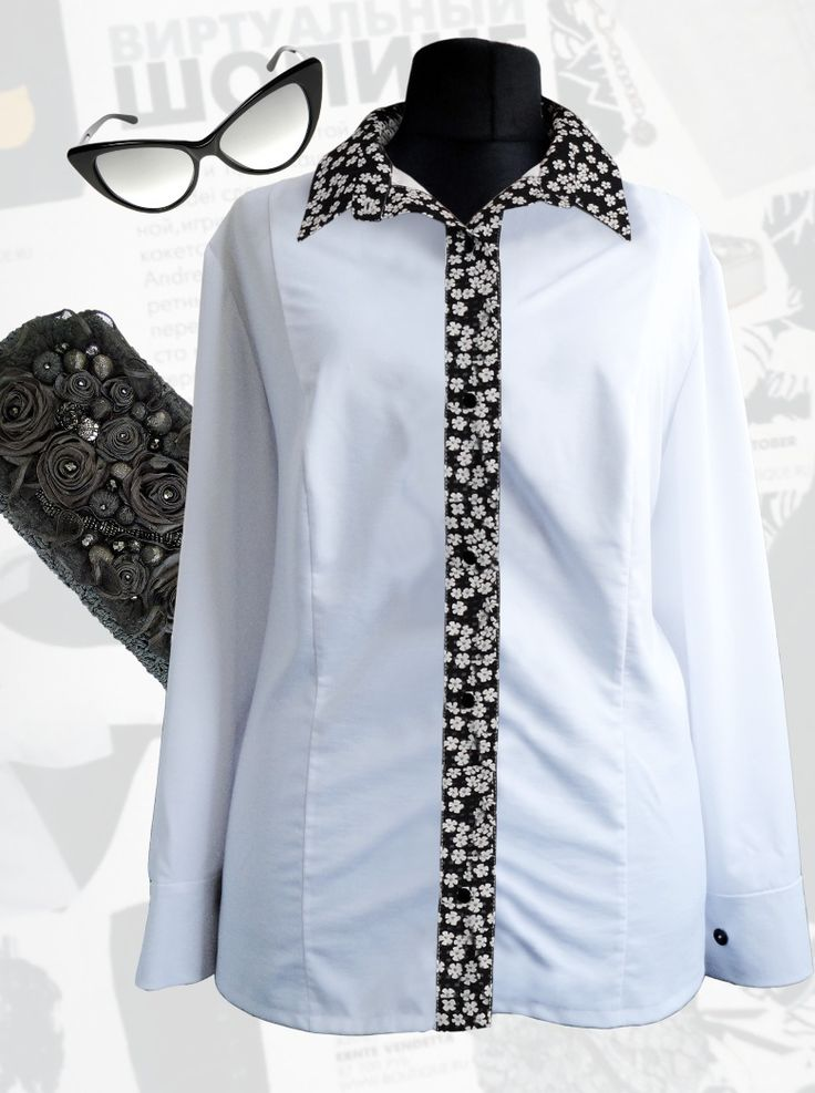 43$ Белая блузка для полных девушек с длинными рукавами и вставкой-планкой в белый мелкий цветочек Артикул 801, р50-64
