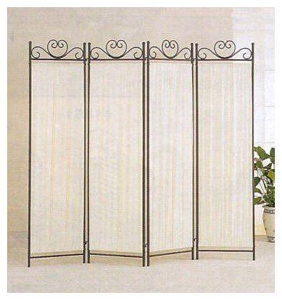 Coaster 4-Panel Elegant Room Divider Screen, Ivory Fabric, Metal Frame   Free Shipping