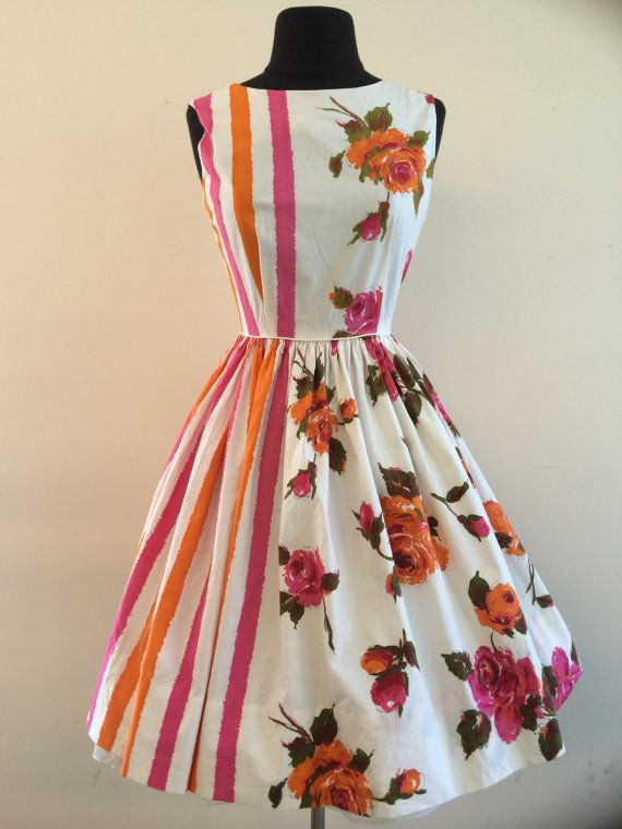 1950's Crisp Cotton Rose and Stripes Summer Dress by AntiqueSugar, $125.00 So darn fun!