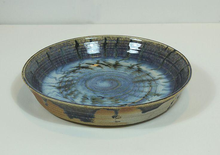 Pirjo Lautiainen, wheel thrown and anagama fired platter, blue chun glaze, 2016