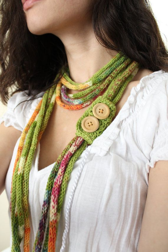 Green Envy Multi Strand Infinity Scarf, French Knitted, with Wood Buttons
