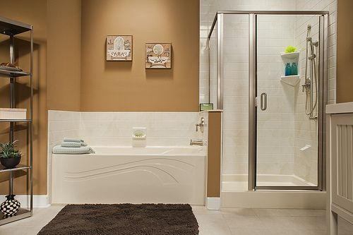 Almond Wave Bath Amp Shower Base With Almond White 4x4 Walls